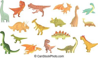 olbrzym, prehistoryczny, jurajski, dinozaury, okres, animals., realistyczny, komplet, gadzina, wygasły, rysunek