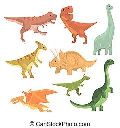 olbrzym, prehistoryczny, zwierzęta, jurajski, dinozaury, okres, zbiór, realistyczny, gadzina, wygasły, rysunek