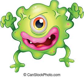 one-eyed, gniewny, zielony potwór