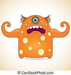 one-eyed, pomarańcza, potwór