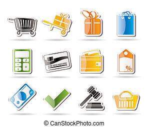 online, ikony, sklep