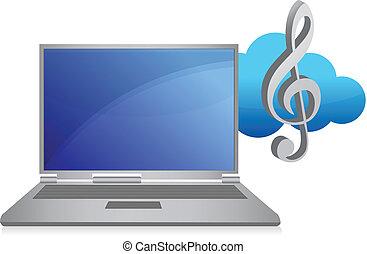online, muzyka, ilustracja, pojęcie