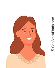 online, uśmiechanie się, sklep, prospekt, asystent, portret, kobieta