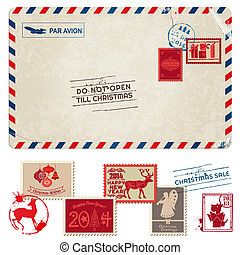 opłata pocztowa, kartka pocztowa, rocznik wina, -, boże narodzenie, pieczęcie, wektor, album na wycinki, projektować