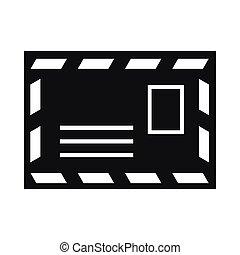 opłata pocztowa, styl, prosty, koperta, pieczęć ikona