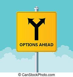 opcje, na przodzie, znak