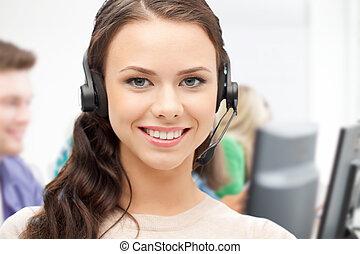 operator, helpline, słuchawki, nazywać środek