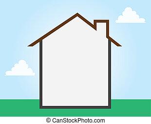 opróżniać, dom, szkic