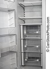 opróżniać, drzwi, refrigerator., podwójny, niesplamiony, bok, biały, prospekt, stal, otwarty