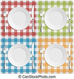 opróżniać, nóż, klasyk, płyta, klatkowy, widelec, tablecloth