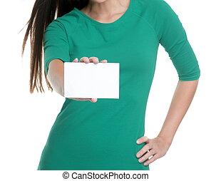 opróżniać, osoba, reklama, studio, t-shirt., tło, młoda kobieta, biały, znak, zielony, tekst, pokaz, dzierżawa, czysty, kopia, handlowa karta, przestrzeń