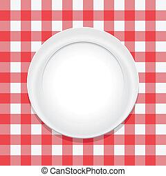 opróżniać, płyta, wektor, tablecloth, piknik, czerwony