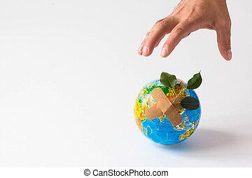 oprócz, ecology., dzierżawa, planeta, siła robocza, ziemia, planet., niebezpieczeństwo, concept., odizolowany, człowiek, obiekt, zielony, tło., ręka, biały
