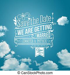 oprócz, holiday., image., ślub, invitation., wektor, osobisty, data
