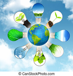 oprócz, planeta, -, zielony, pojęcie, energia