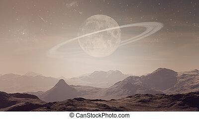opuszczony, planeta, rodzony, landscape:, saturn, 3d