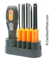 orange-black, komplet, kawałki, śrubokręty