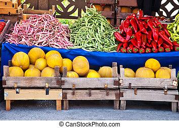 organiczny, świeża zielenina, owoce, zróbcie zakupy ulicę