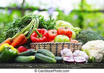 organiczny, ogród, wiklina, warzywa, kosz, świeży