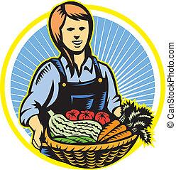organiczny, produkcja zagrody, retro, rolnik, żniwa