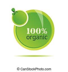 organiczny, wektor, zielony, ilustracja, natura