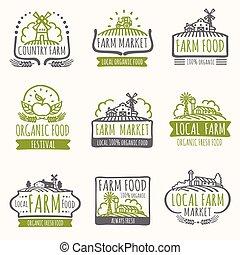 organiczny, zagroda, rocznik wina, etykiety, signs., pole, wektor, jadło, świeży, żniwa, targ, retro