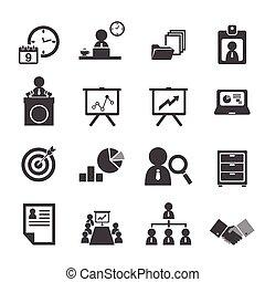 organizacja, kierownictwo, komplet, handlowy, ikona