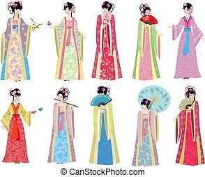 orientalny, dziewczyny, retro, zbiór, kostium