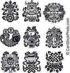 orientalny, emblemat, zakrętas