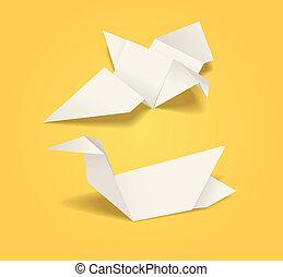 origami, abstrakcyjny, ptaszki