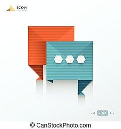 origami, ikona, rozmowa, bańka