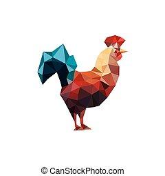 origami, ilustracja, kogut