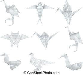 origami, komplet, ptaszki