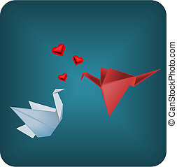 origami, miłość ptaszki