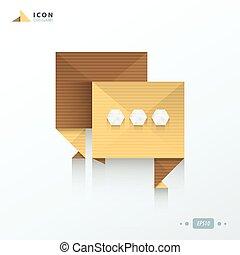 origami, papier, bańka, rozmowa, styl, ikona