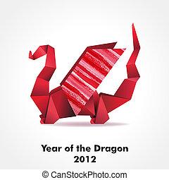 origami, smok