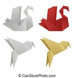 origami, wektor, japończyk, ptaszki