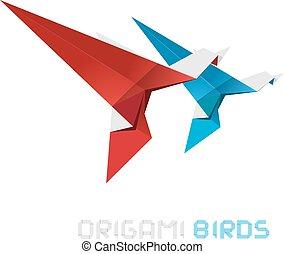 origami, wektor, ptaszki, illustration.