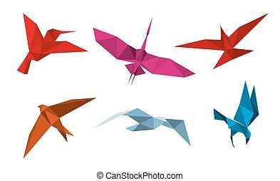 origami, wektor, ptaszki