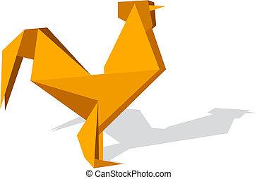 origami, wibrujący, kolor, kogut