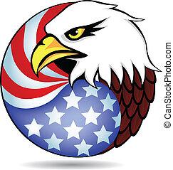 orzeł, bandera, ameryka, miał