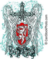 orzeł, heraldyczny, herb, krzyż