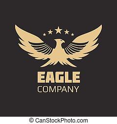 orzeł, heraldyczny, projektować, złoty, logo