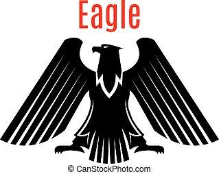orzeł, heraldyczny, znak, wektor, czarnoskóry, gotyk, ikona
