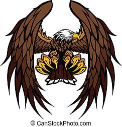 orzeł, maskotka, wektor, skrzydełka, chwyta w szpony