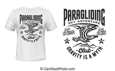 orzeł, paragliding, druk, klub, wektor, t-shirt