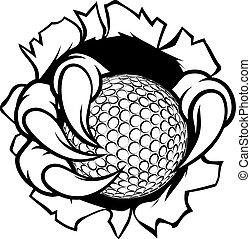 orzeł, piłka, golf, szpony, tło, pazur, płakanie