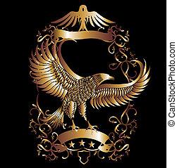 orzeł, wektor, sztuka, tarcza, złoty