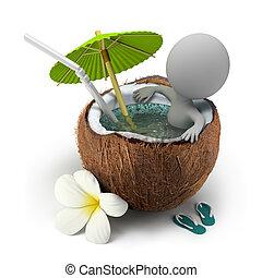 orzech kokosowy, doprowadzenia, ludzie, -, wanna, mały, 3d