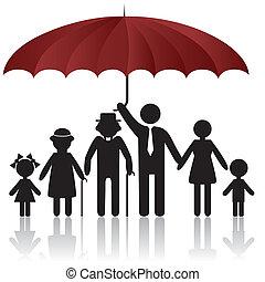 osłona, sylwetka, parasol, rodzina, pod
